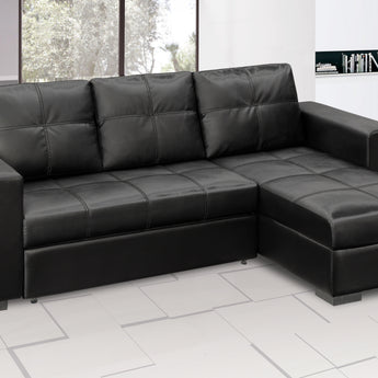 Gianni Chaise Sofa Bed with Storage PU - Black - Alidasa