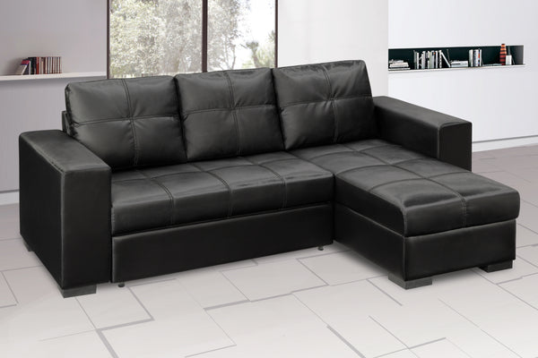 Gianni Chaise Sofa Bed with Storage PU - Black alidasa.myshopify.com