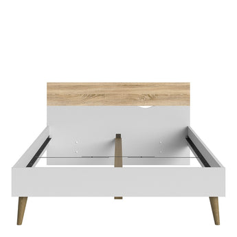 Oslo Euro Double Bed in White and Oak - Alidasa