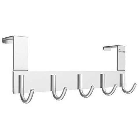 Door Hooks Hanger Rack, Anjuer Aluminum Utility Organizer Towel Hooks Holder for Kithchen Bathroom, 5 Hooks Over The Door Hanger Silver