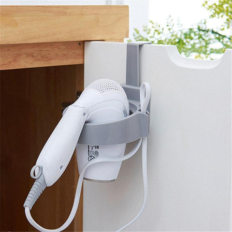 Door Hook Ring Portable Bathroom Hair Dryer Stand Organizer Hairdryer Holder Rack Plastic For Home