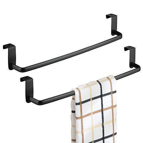 "mDesign Kitchen Storage Over Cabinet Curved Steel Towel Bar - Hang on Inside or Outside of Doors, for Organizing and Hanging Hand, Dish, and Tea Towels - 14"" Wide, Pack of 2, Matte Black Finish"
