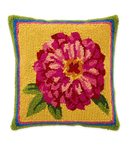 "18""x18'' Indoor/Outdoor Hooked Pillow, Pink Zinnia"