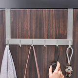Arplis Over The Door Hook Hanger, Stainless Steel Heavy-Duty Organizer Rack for Coat, Towel, Bag, Robe - 6 Hooks