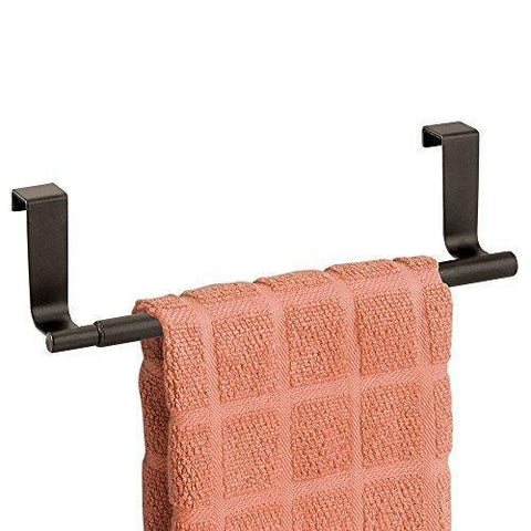 "mDesign Adjustable, Expandable Kitchen Over Cabinet Towel Bar Rack - Hang on Inside or Outside of Doors, Storage for Hand, Dish, Tea Towels - 9.25"" to 17"" Wide - Bronze"