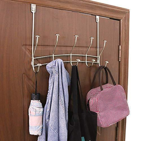 Vibrynt Over The Door Hook Rack, Heavy Duty Organizer Hooks, Over Door Hanger for Clothes, Coats, Towels, Hats or Handbags