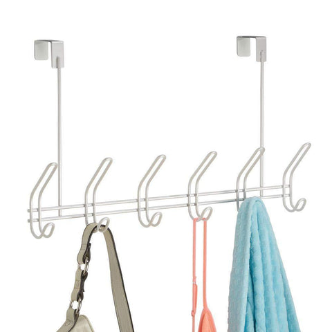 "InterDesign Classico Metal Over the Door Organizer, 6-Hook Rack for Coats, Hats, Robes, Towels, Jackets, Purses, Bedroom, Closet, and Bathroom, 18.25"" x 5"" x 10.75"", Pearl White"