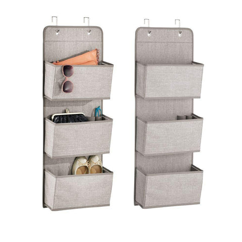 mDesign a568 Soft Fabric Over The Door Hanging Storage Organizer with 3 Large Pockets for Closets in Bedrooms, Hallway, Entryway, Mudroom-Hooks Included-Textured Print, 2 Pack-Linen/Tan
