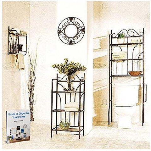 3 Piece Bathroom Organizer Spacesaver with Over the Door Hooks Hanger Hanging Clothes & Towel Shelf Tissue , Over the Rack Toilet Cabinet Floor Shelving Towel , & eBook By Easy2Find