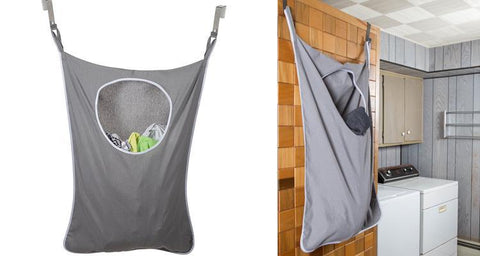 LaundryMate Hanging Laundry Hamper with Stainless Steel Door Hooks