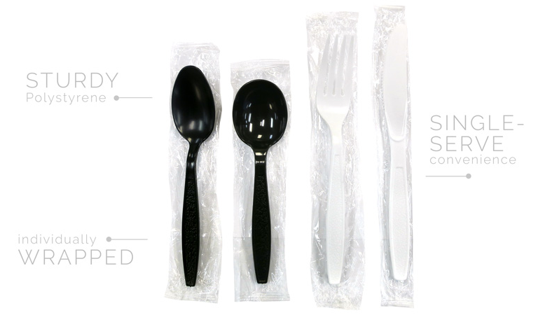 Ambiance Heavy Wt. Individually Wrapped PS Black - Soup Spoon 1000/c