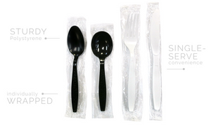 Ambiance Heavy Wt. Individually Wrapped PS Black - Teaspoons 1000/c