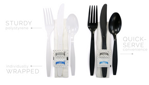 Ambiance Heavy Wt. Kits Black - Fork, Knife, Teaspoon, Napkin(12x13), S&P