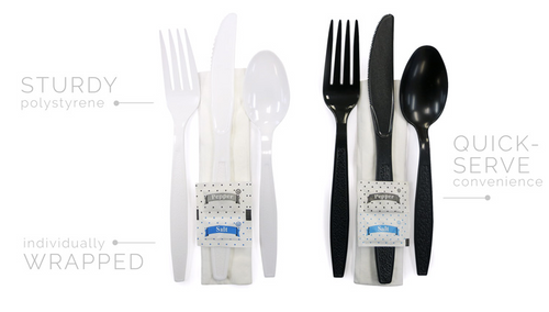 Ambiance Heavy Wt. Kits White - Fork, Knife, Teaspoon, Napkin(12x13) - 250/case