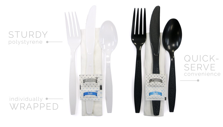 Ambiance Heavy Wt. Kits Black - Fork, Knife, Teaspoon, Napkin(12x13) - 250/case