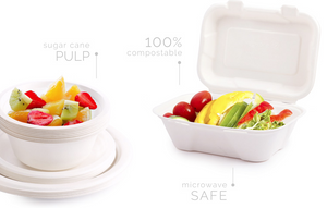 "Compostable - 9"" Compostable Clamshell (Bagasse/SugarCane) - Packed 2/100"