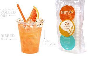 Plastic PP Cups - 7 Oz. Clear - 100/Bag 1200/Box