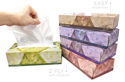 Silky Soft Facial Tissue - Tissue Two Ply - 100/Box 30Box/Case