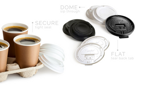Flat Lids White/Black - Flat Coffee Cup Lid - Black - Tear Back - 50/Poly Bag Sealed - 20Bags/Case