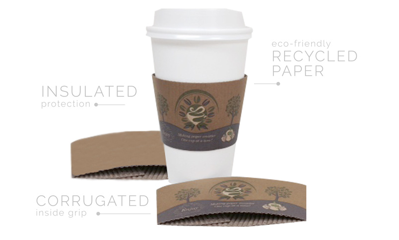 Hot Cup Sleeves - Hot Cup Sleeve Earth Friendly Design Kraft Printed - Packed 10/100