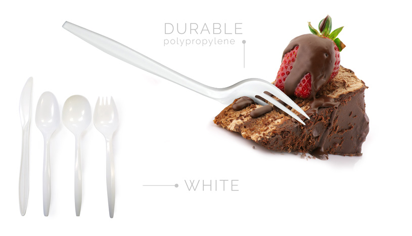 Medium Wt. PP White Cutlery - Knives - White Plastic - 1000/cs
