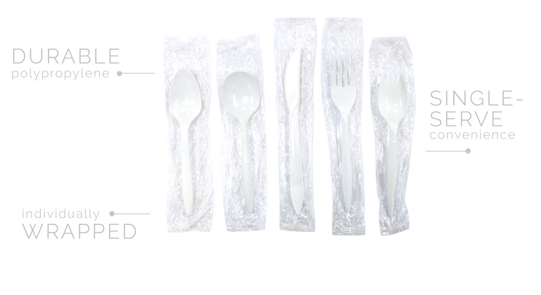 Individually Wrapped Medium Wt. PP White Cutlery - Spork - 1000/cs