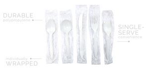 Individually Wrapped Medium Wt. PP White Cutlery - Tea Spoon - 1000/cs