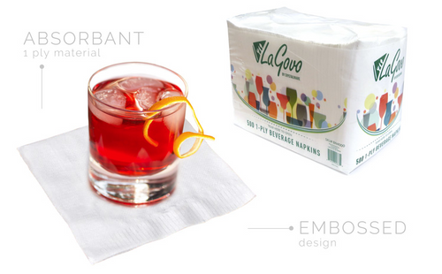 Lagovo Paper Napkins - Beverage Napkins - Packed 8/500-4000/Case