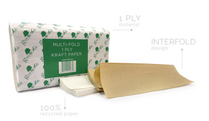 Greensoft Paper Towels - M Fold One Ply White - 334/Bag 12/Cs