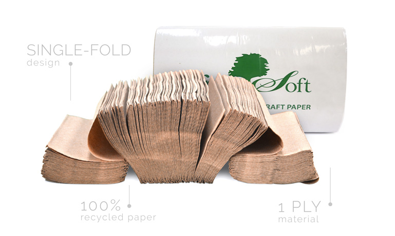 Greensoft Paper Towels - Single Fold One Ply Brown - 334/Bag 12/Cs