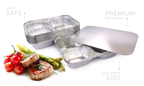 Aluminium Foils - Three Compartment Tray Foil, Combo with Lids