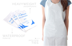 "Aprons - Disposable Poly-Apron White - Full Size (28"" x 46"") Neck to Knee - Packed Individually - Packed 100/Box 10Box/Case"
