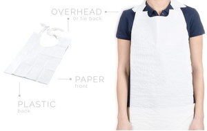 Bibs - Disposable Overhead Paper/Poly Bib - White Design - Packed 300/Case