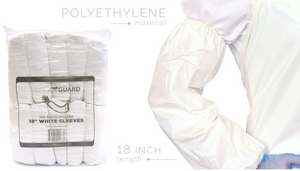 "Protection Apparel - White 18"" Polythylene Sleeves - 10Sleeves/Bundle 10Bundles/Bag 10Bags/Case"