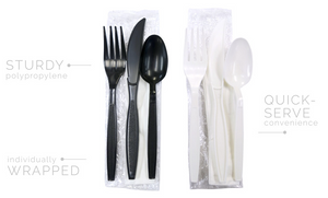 Sleek Heavy Wt. Kits - Black - 4pc. Fork Knife, Teaspoon, Napkin(10x12) Kit - 250 kits/case