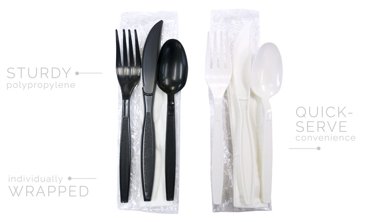 Sleek Heavy Wt. Kits - White - Fork, Knife, Teaspoon, Napkin, S&P - 250 Kits/Case
