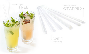 "Sip-n'-Joy Straws and Stirrers - Giant Wrapped Clear Straw 10.25"" - Packed 4/300"