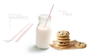 Sip-n'-Joy Straws and Stirrers - White Milk Straws W/Red Line Individually Wrapped - Packed 24/500's