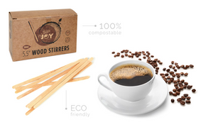 "Wood Stirrers - 5.5"" Eco-Friendly Wood Coffee Stirrer - Packed 10/1000"