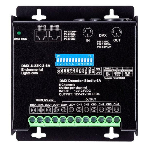 Environmental Lights StudioPro 6 Channel DMX Decoder - 3-pin XLR - 6A per Channel from OnSetLighting.com