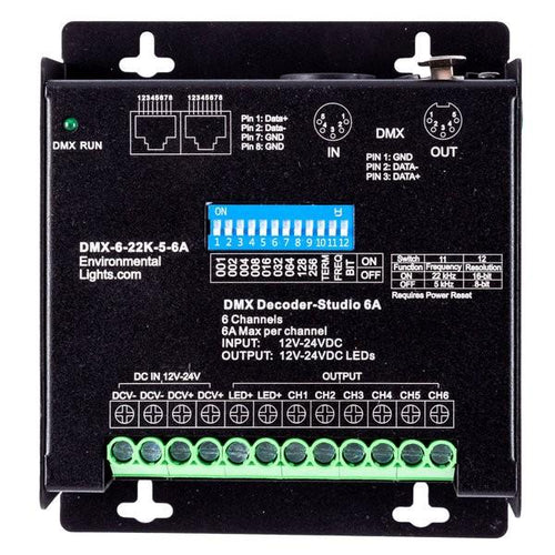 Environmental Lights StudioPro 6 Channel DMX Decoder - 5-pin XLR - 6A per Channel from OnSetLighting.com