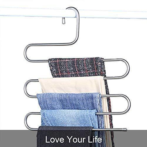 DS Pants Hangers S-Shape Trousers Hangers Stainless Steel Clothes Hangers Closet Space Saving for Pants Jeans Scarf Hanging Silver (4 Pack with 10 Clips)