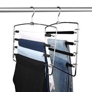 Globle Direct Clothes Pants Hangers 2 Pack, Multi Layers Metal Pant Slack Hangers, Space Saver Storage Pant Rack, Swing Arm Slack Non-Slip Foam Padded Closet Storage for Jeans Trousers, Skirts, Scarf