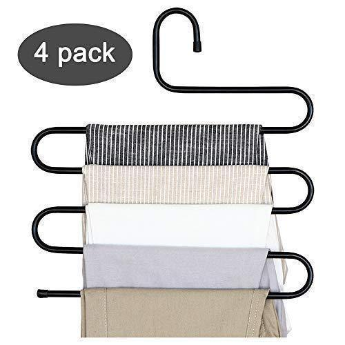 Advutils Pants Hanger Multi-layer S-style Jeans Trouser Hanger Closet Organize Storage Stainless Steel Rack Space Saver for Tie Scarf Shock Jeans Towel Clothes(4 Pack )
