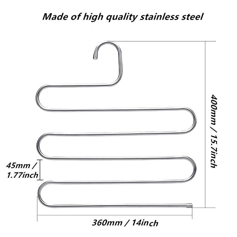 AHUA 4 Pack Premium S Type Clothes Pants Hanger S-Shape Stainless Steel Space Saving Hanger Saver Organization 5 Layers Closet Storage Organizer for Jeans Trousers Tie Belt Scarf