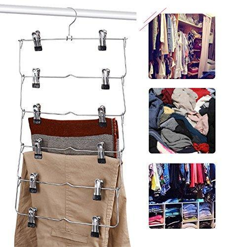 DOIOWN 6 Tier Skirt Hangers Pants Hangers Closet Organizer Stainless Steel Fold up Space Saving Hangers (4-Pieces)