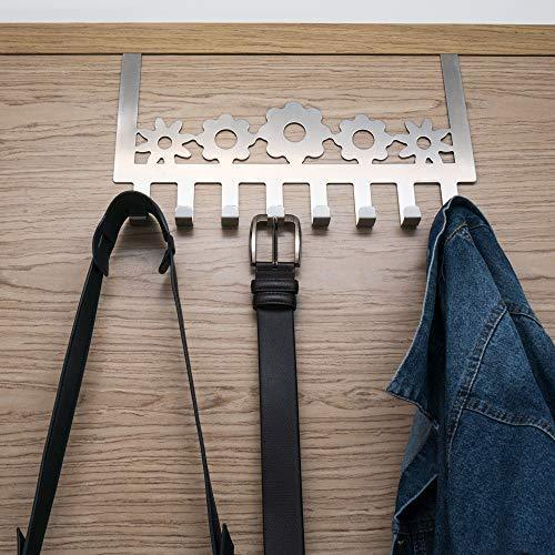 Ecorelation Over The Door Hook Organizer Rack Storage Multi 8 Hanger Wall Mount Coats Hats Robes Clothes Towels Belt Accessory Stainless Steel