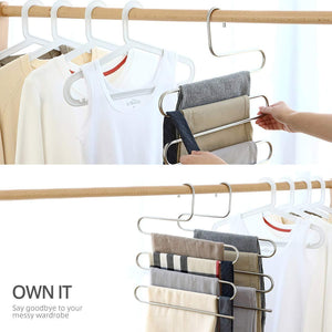 Larnn 6 Pack S-Shape Stainless Steel Hanger with 5 Layers Storage Rack for Clothes