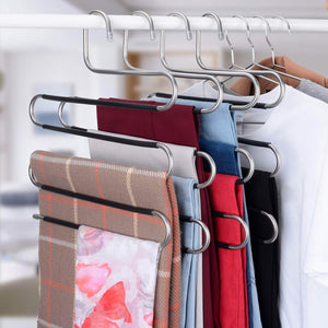 IEOKE Pant Hangers Durable Slack Hangers Multi Layers Stainless Steel Space Saving Clothes Hangers - Closet Storage for Jeans Trousers 4 Pack