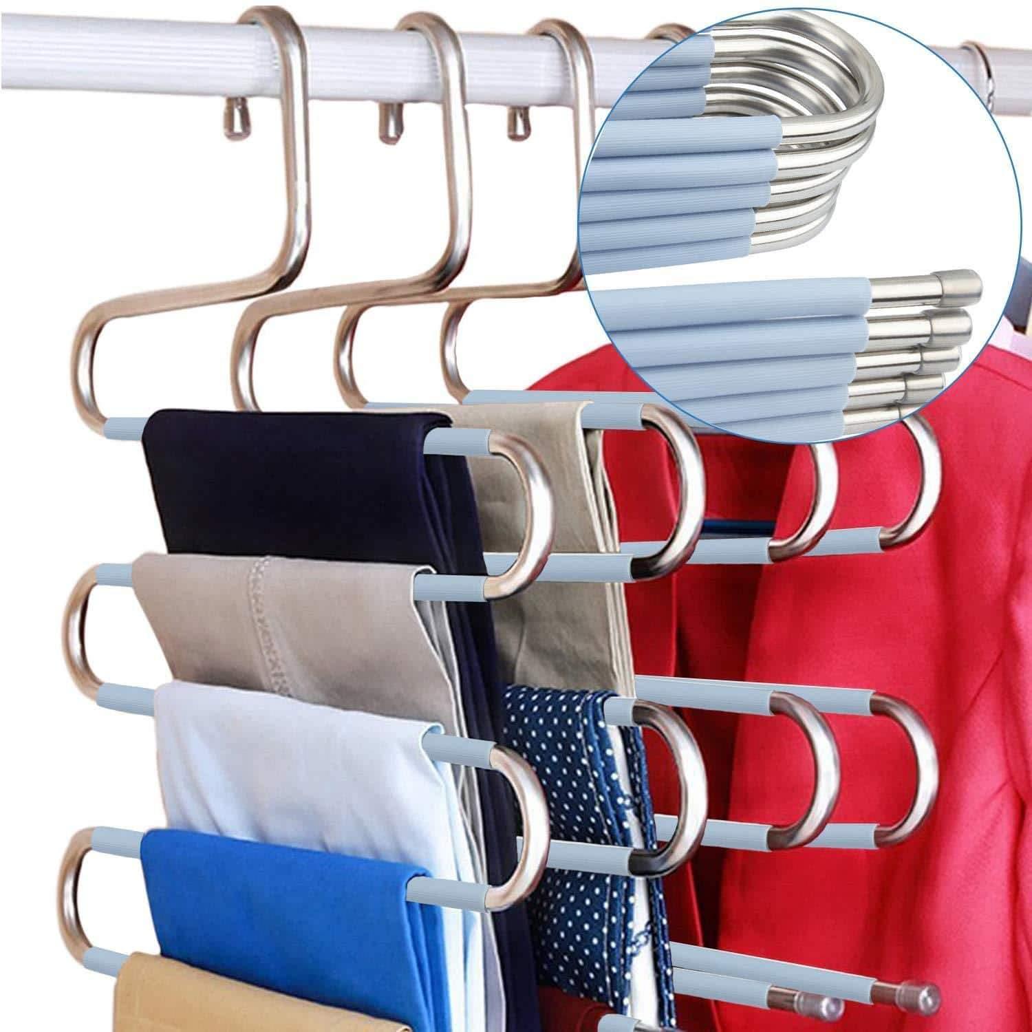 DOIOWN S-Type Stainless Steel Clothes Pants Hangers Closet Storage Organizer for Pants Jeans Scarf Hanging (14.17 x 14.96ins, Set of 3) (5-Pieces-Light Blue(Upgrade Style))